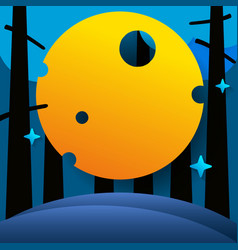 night forest with big moon and stars vector image