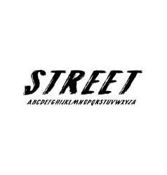 Oblique handwritten brush font in grunge style vector