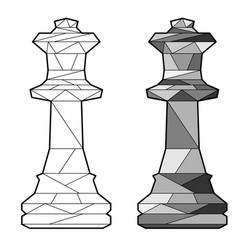 Outline chess queen vector