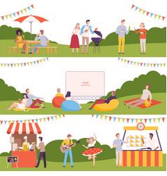 People performing leisure outdoor activities in vector