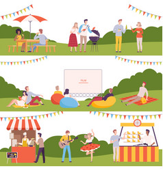 people performing leisure outdoor activities in vector image