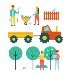 people working on farm with equipment icon vector image