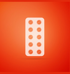 pills in blister pack icon on orange background vector image