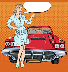 pop art blonde woman with car keys vector image