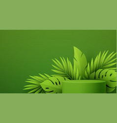 product podium with green paper cut tropical vector image
