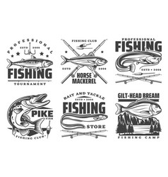 Professional fishing sport fisherman club badges vector