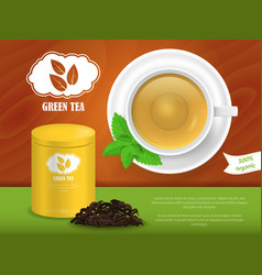 realistic detailed 3d green tea ads vector image