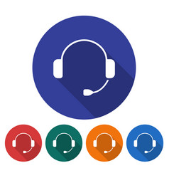 round icon headphones flat style with long vector image