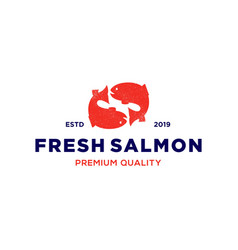 salmon fish logo seafood label badge vector image