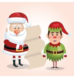 santa claus with elf and list gift design isolated vector image