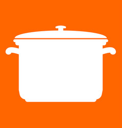 Saucepan white icon vector