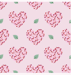 seamless pattern with petal in heart shape vector image