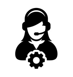 Service icon female operator person profile avatar vector