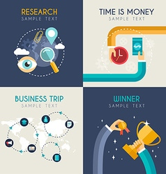 Set of flat business research time is money vector