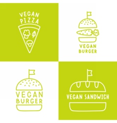 Set of vegan food icons Burger pizza sandwich vector