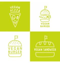 Set of vegan food icons burger pizza sandwich vector