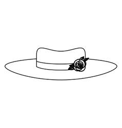 Silhouette lace hat roses retro design vector