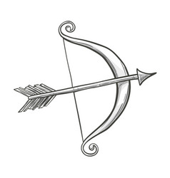 Sketch cupid bow and arrow vector