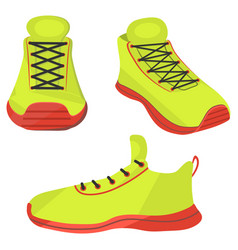 Sneakers new bright shoes from different angles vector