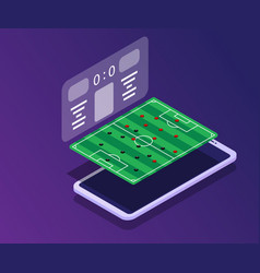 soccer field with score board app in smartphone vector image