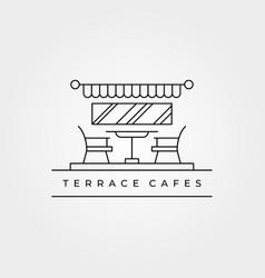 terrace cafes icon line art logo minimalist vector image
