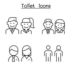 toilet restroom wc icon set in thin line style vector image