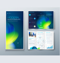tri fold brochure design with liquid abstract vector image