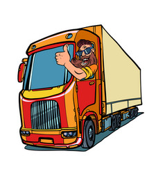 Truck driver man with beard thumbs up vector