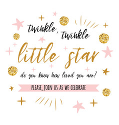 twinkle twinkle little star text with gold polka vector image
