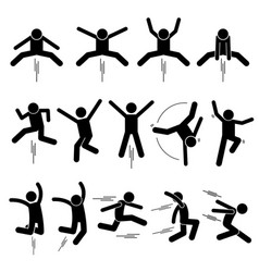 Various jumper human man people jumping stick vector