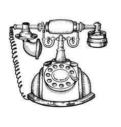 Vintage phone engraving vector