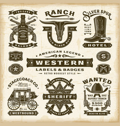 Vintage western labels and badges set vector