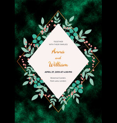 wedding invitation card with leaves on the dark gr vector image