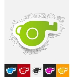 Whistle paper sticker with hand drawn elements vector