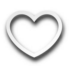 white 3d valentine s heart sign vector image