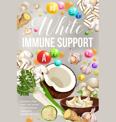White diet immune support natural vitamins vector