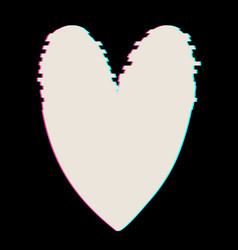 White heart in glitch style heart vector