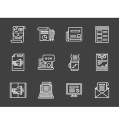 White line marketing icons set vector image vector image
