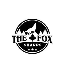 Wolf and timberland logo with mountain on emblem vector