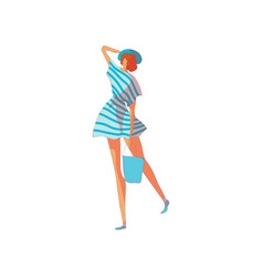 Woman in a striped dress on vector