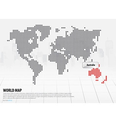 World map with continents Australia vector