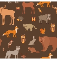 flat style forest animals seamless pattern vector image