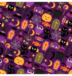 Happy halloween seamless pattern with flat icons vector image vector image