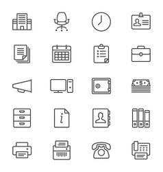 Office supplies thin icons vector image