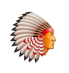 American indian chief isolated on white vector image