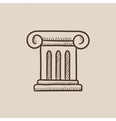 Ancient column sketch icon vector image