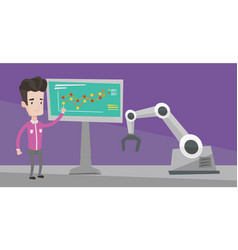 Businessman and robot giving business presentation vector