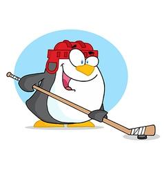 Cartoon penguin playing hockey vector image vector image
