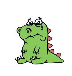 cute unhappy dinosaur cute unhappy vector image
