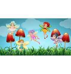 Fairies flying in the mushroom garden vector image vector image